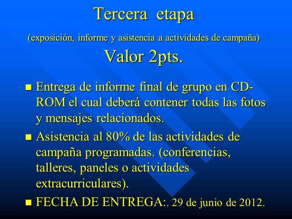 Tercera etapa (exposición, informe y asistencia a actividades de campaña) Valor 2pts. Entrega de informe final de grupo en CD- ROM el cual deberá cont