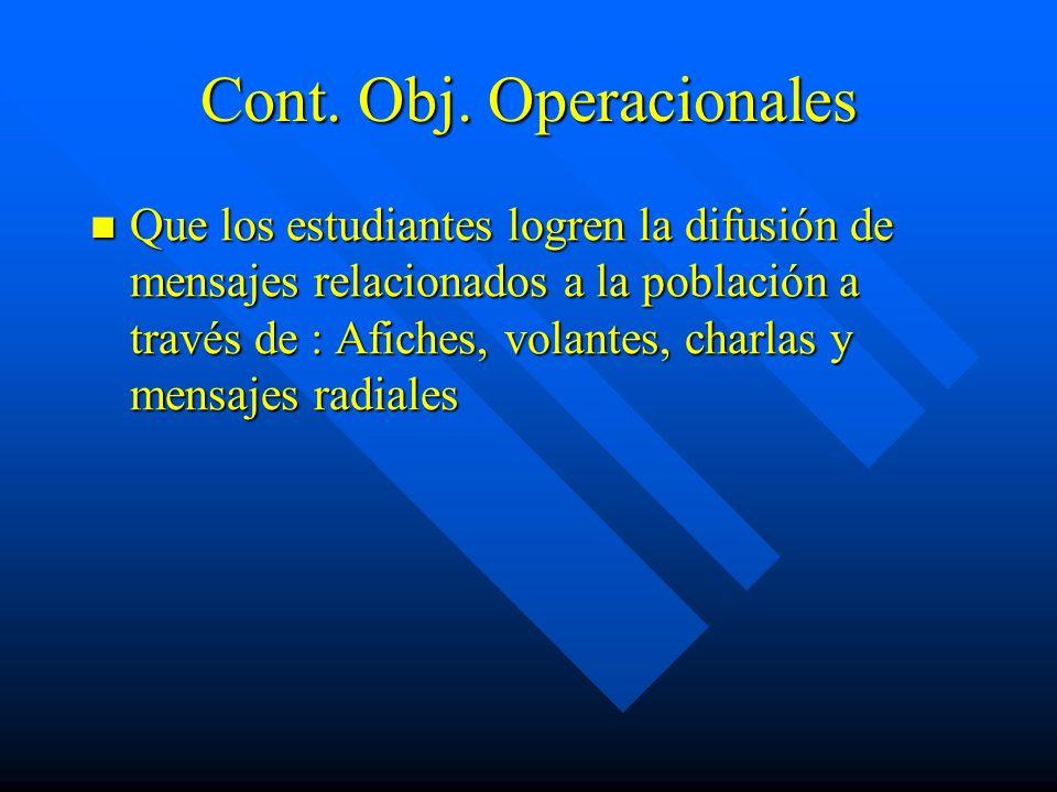 Cont. Obj. Operacionales Que los estudiantes logren la difusión de mensajes relacionados a la población a través de : Afiches, volantes, charlas y men