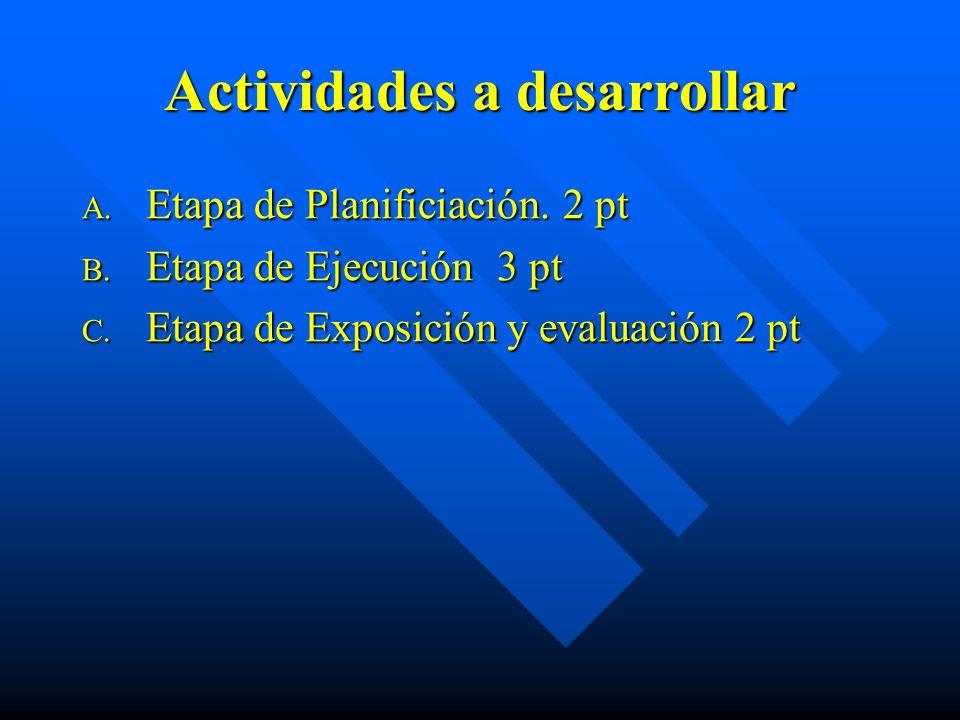 Actividades a desarrollar A. Etapa de Planificiación. 2 pt B. Etapa de Ejecución 3 pt C. Etapa de Exposición y evaluación 2 pt