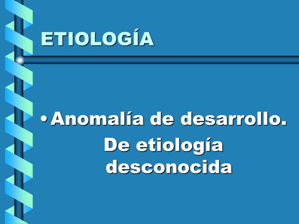 ETIOLOGÍA Anomalía de desarrollo.Anomalía de desarrollo. De etiología desconocida