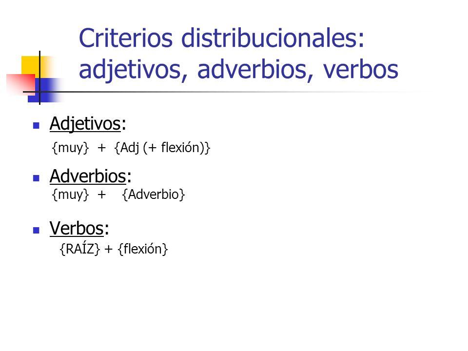Criterios distribucionales: adjetivos, adverbios, verbos Adjetivos: Adverbios: Verbos: {muy} +{Adj (+ flexión)} {muy} +{Adverbio} {RAÍZ} + {flexión}