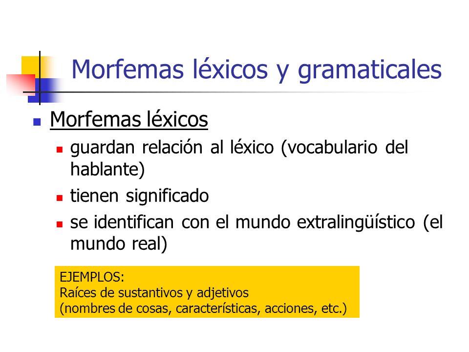 Morfemas léxicos y gramaticales Morfemas léxicos guardan relación al léxico (vocabulario del hablante) tienen significado se identifican con el mundo