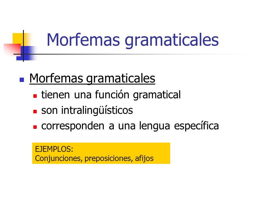 Morfemas gramaticales tienen una función gramatical son intralingüísticos corresponden a una lengua específica EJEMPLOS: Conjunciones, preposiciones,
