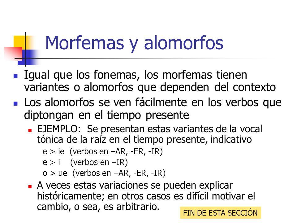 Morfemas y alomorfos Igual que los fonemas, los morfemas tienen variantes o alomorfos que dependen del contexto Los alomorfos se ven fácilmente en los
