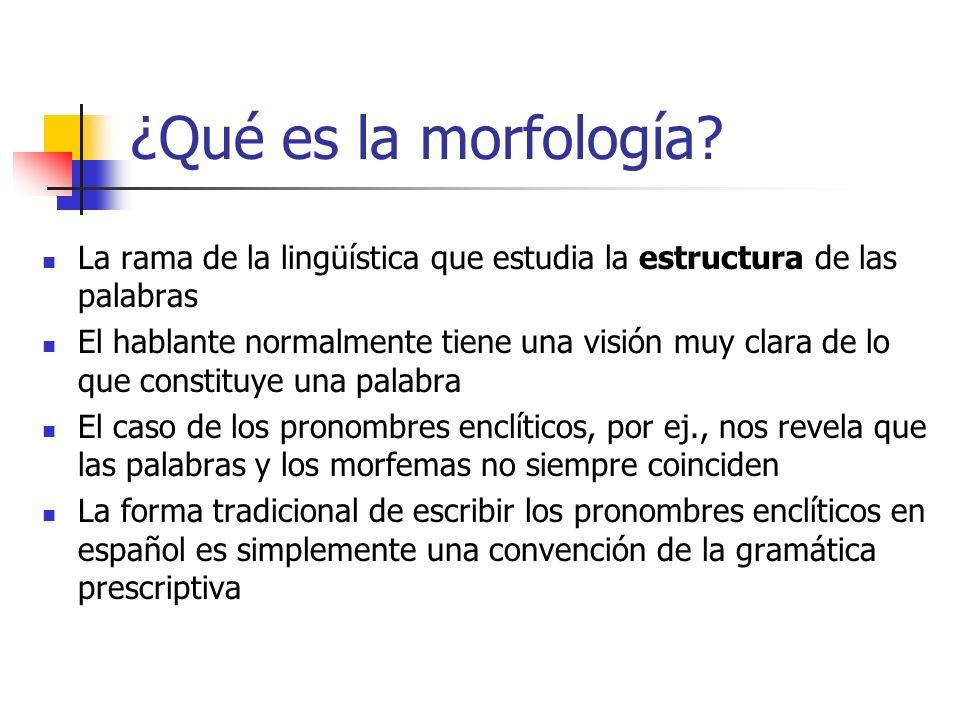 ¿Qué es la morfología? La rama de la lingüística que estudia la estructura de las palabras El hablante normalmente tiene una visión muy clara de lo qu