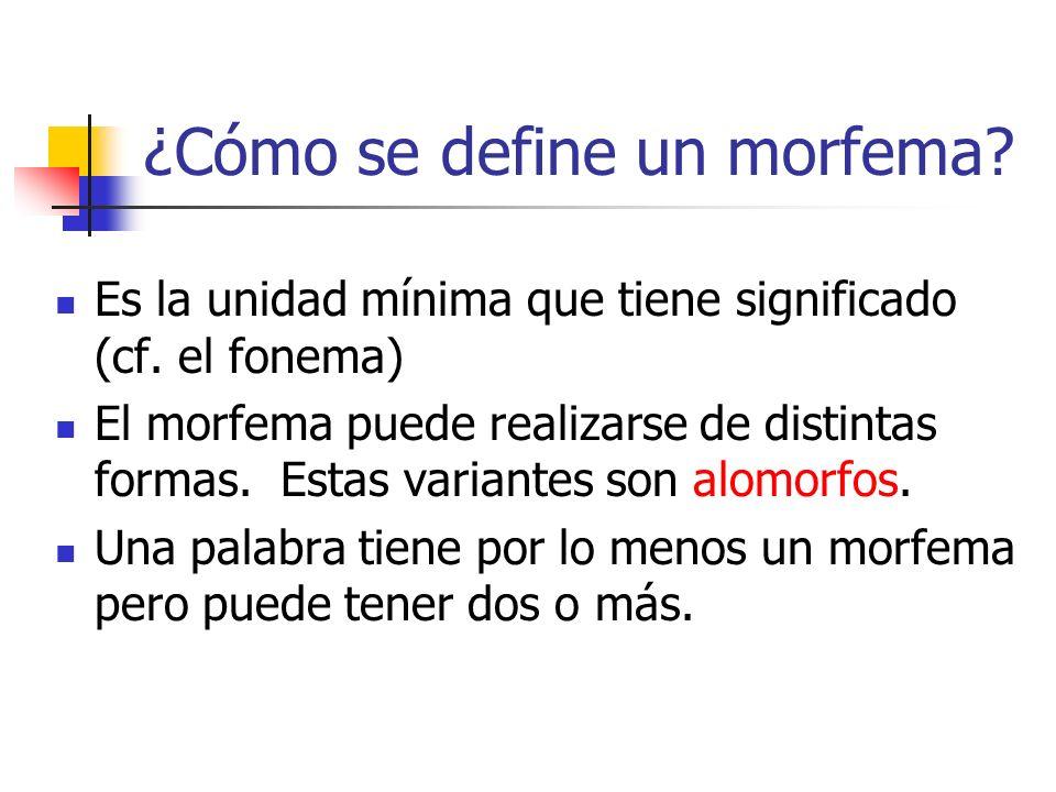 ¿Cómo se define un morfema? Es la unidad mínima que tiene significado (cf. el fonema) El morfema puede realizarse de distintas formas. Estas variantes