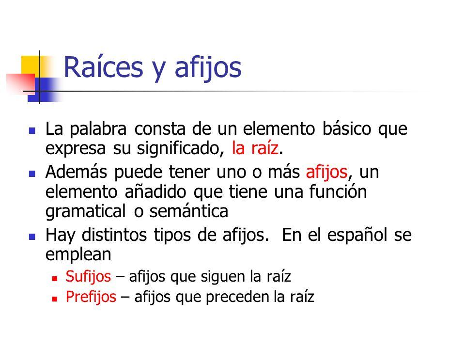 Raíces y afijos La palabra consta de un elemento básico que expresa su significado, la raíz. Además puede tener uno o más afijos, un elemento añadido
