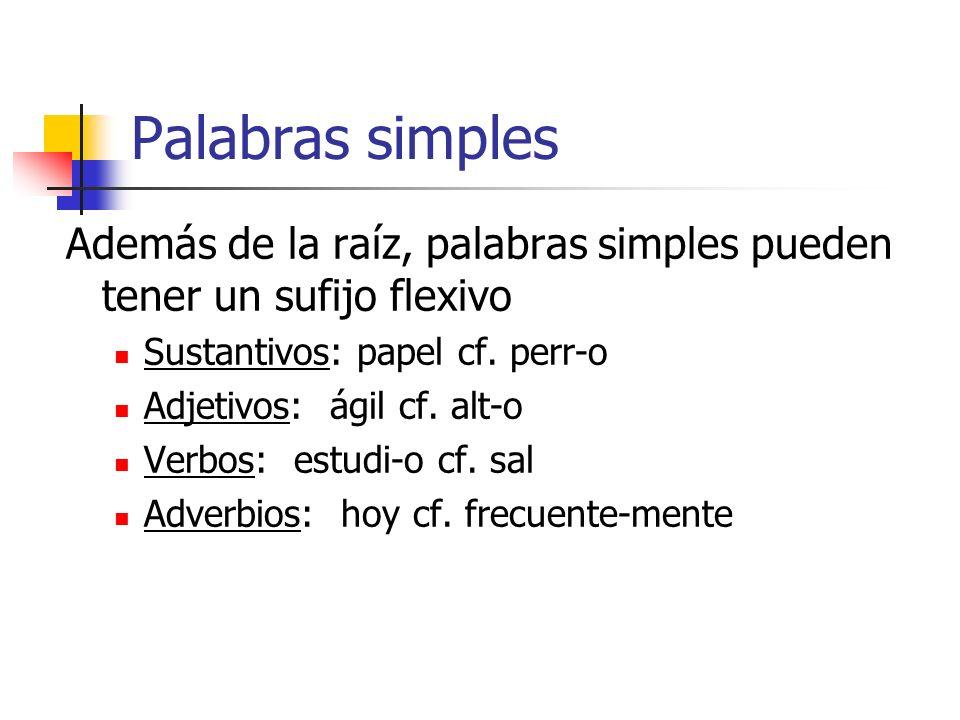 Palabras simples Además de la raíz, palabras simples pueden tener un sufijo flexivo Sustantivos: papel cf. perr-o Adjetivos: ágil cf. alt-o Verbos: es