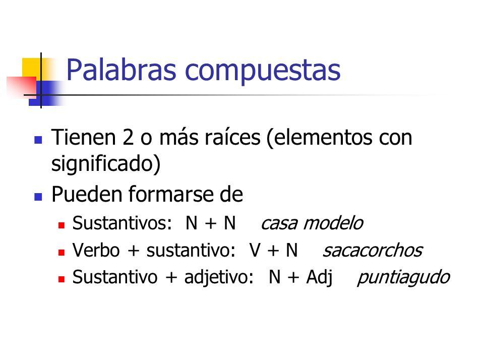 Palabras compuestas Tienen 2 o más raíces (elementos con significado) Pueden formarse de Sustantivos: N + N casa modelo Verbo + sustantivo: V + N saca