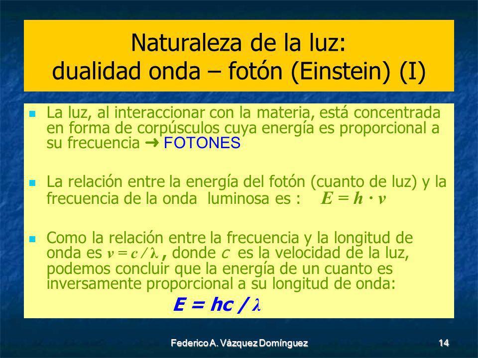 Federico A. Vázquez Domínguez14 Naturaleza de la luz: dualidad onda – fotón (Einstein) (I) La luz, al interaccionar con la materia, está concentrada e