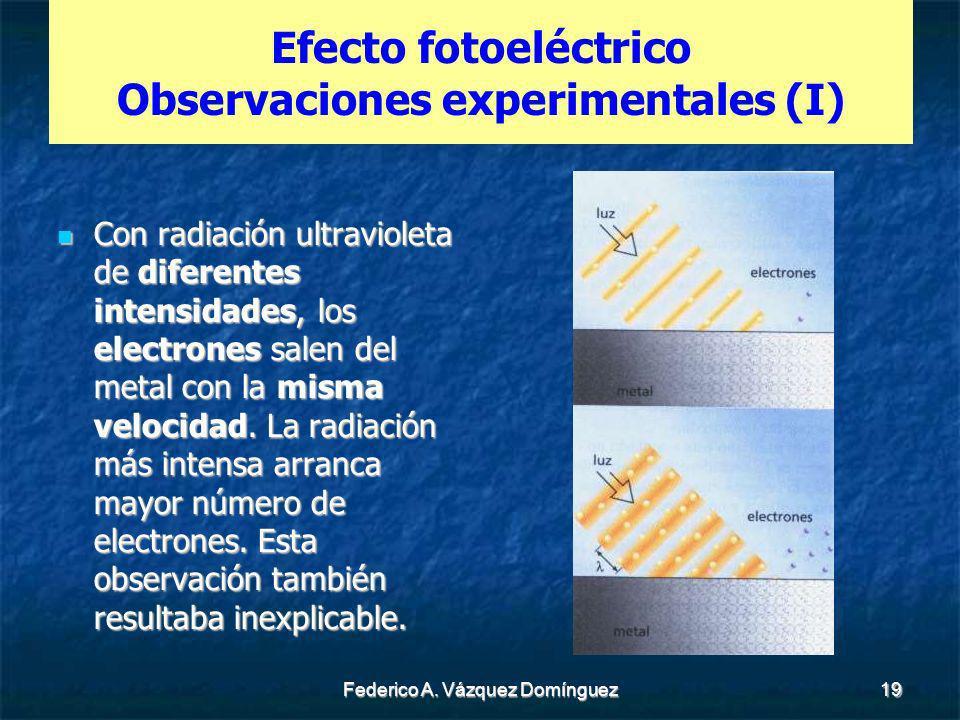 Federico A. Vázquez Domínguez19 Efecto fotoeléctrico Observaciones experimentales (I) Con radiación ultravioleta de diferentes intensidades, los elect