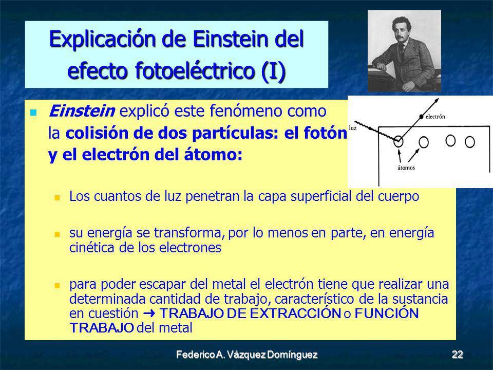 Federico A. Vázquez Domínguez22 Explicación de Einstein del efecto fotoeléctrico (I) Einstein explicó este fenómeno como la colisión de dos partículas