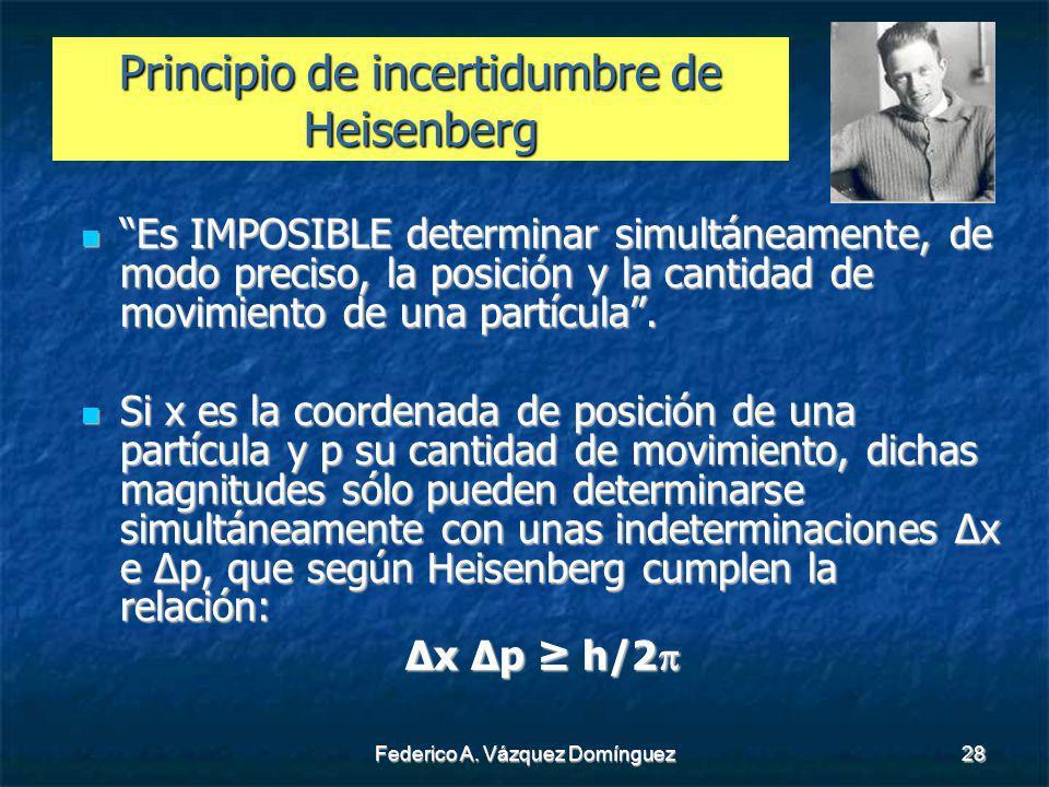 Federico A. Vázquez Domínguez28 Principio de incertidumbre de Heisenberg Es IMPOSIBLE determinar simultáneamente, de modo preciso, la posición y la ca