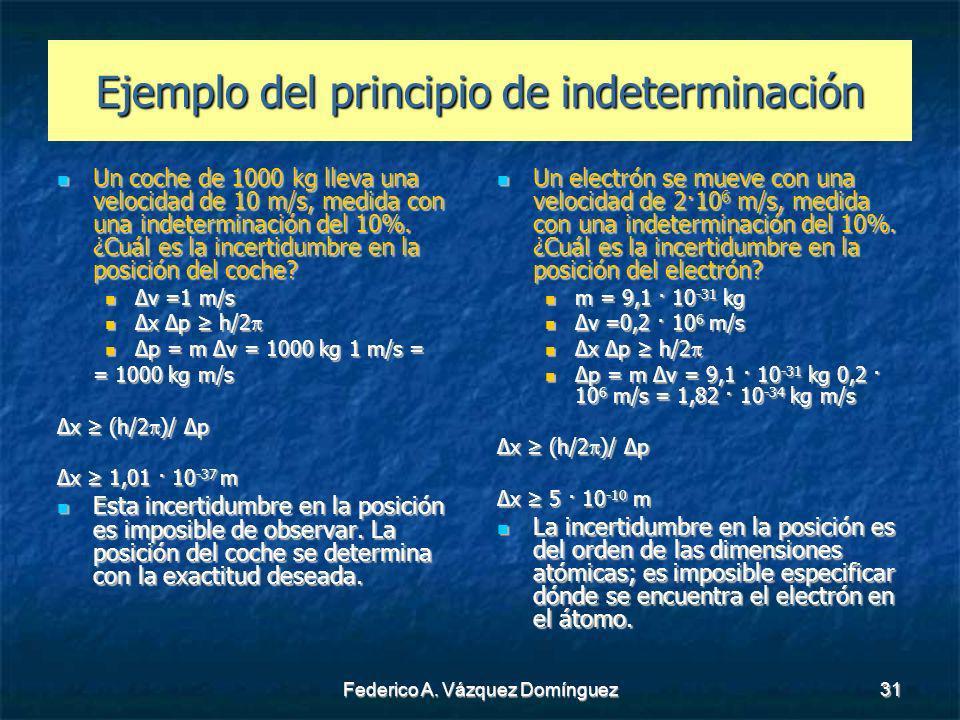 Federico A. Vázquez Domínguez31 Ejemplo del principio de indeterminación Un coche de 1000 kg lleva una velocidad de 10 m/s, medida con una indetermina