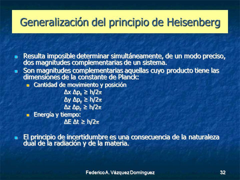 Federico A. Vázquez Domínguez32 Generalización del principio de Heisenberg Resulta imposible determinar simultáneamente, de un modo preciso, dos magni
