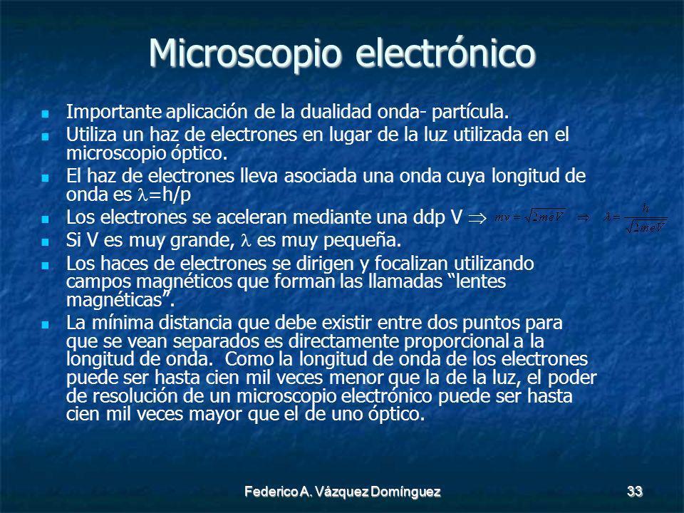 Federico A. Vázquez Domínguez33 Microscopio electrónico Importante aplicación de la dualidad onda- partícula. Utiliza un haz de electrones en lugar de