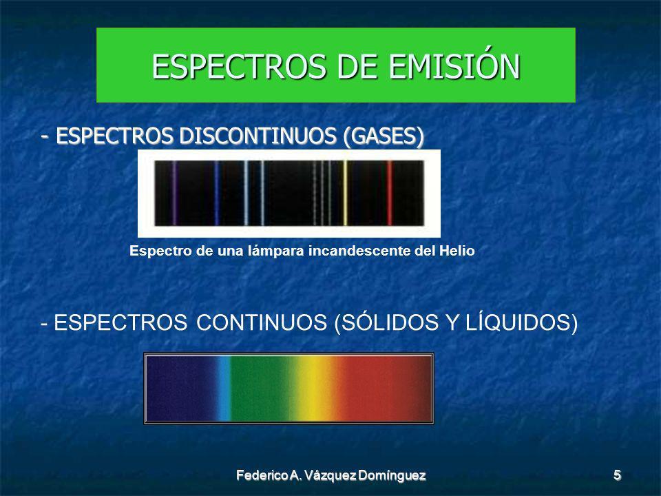 Federico A. Vázquez Domínguez5 ESPECTROS DE EMISIÓN - ESPECTROS DISCONTINUOS (GASES) Espectro de una lámpara incandescente del Helio - ESPECTROS CONTI