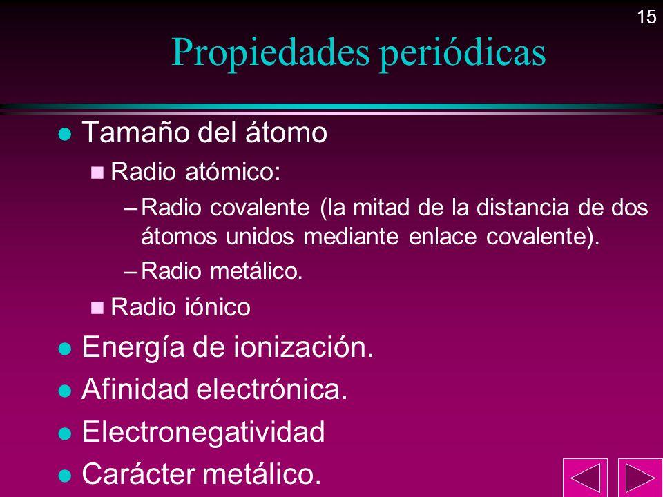 15 Propiedades periódicas l Tamaño del átomo n Radio atómico: –Radio covalente (la mitad de la distancia de dos átomos unidos mediante enlace covalent