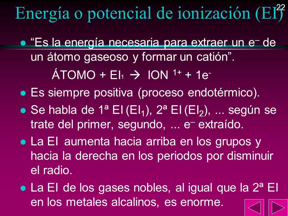22 Energía o potencial de ionización (EI) l Es la energía necesaria para extraer un e – de un átomo gaseoso y formar un catión. ÁTOMO + EI 1 ION 1+ +