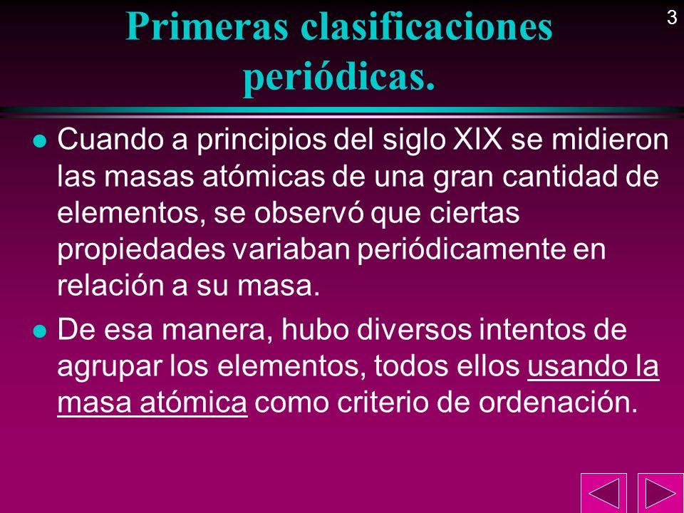 4 Primeras clasificaciones periódicas.