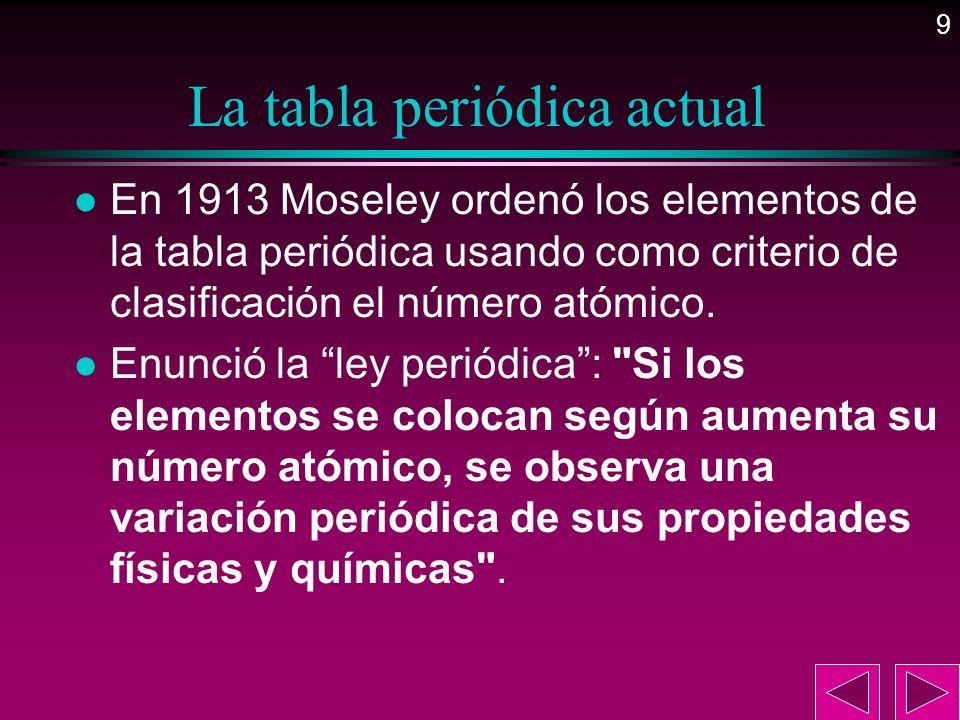 9 La tabla periódica actual l En 1913 Moseley ordenó los elementos de la tabla periódica usando como criterio de clasificación el número atómico. l En