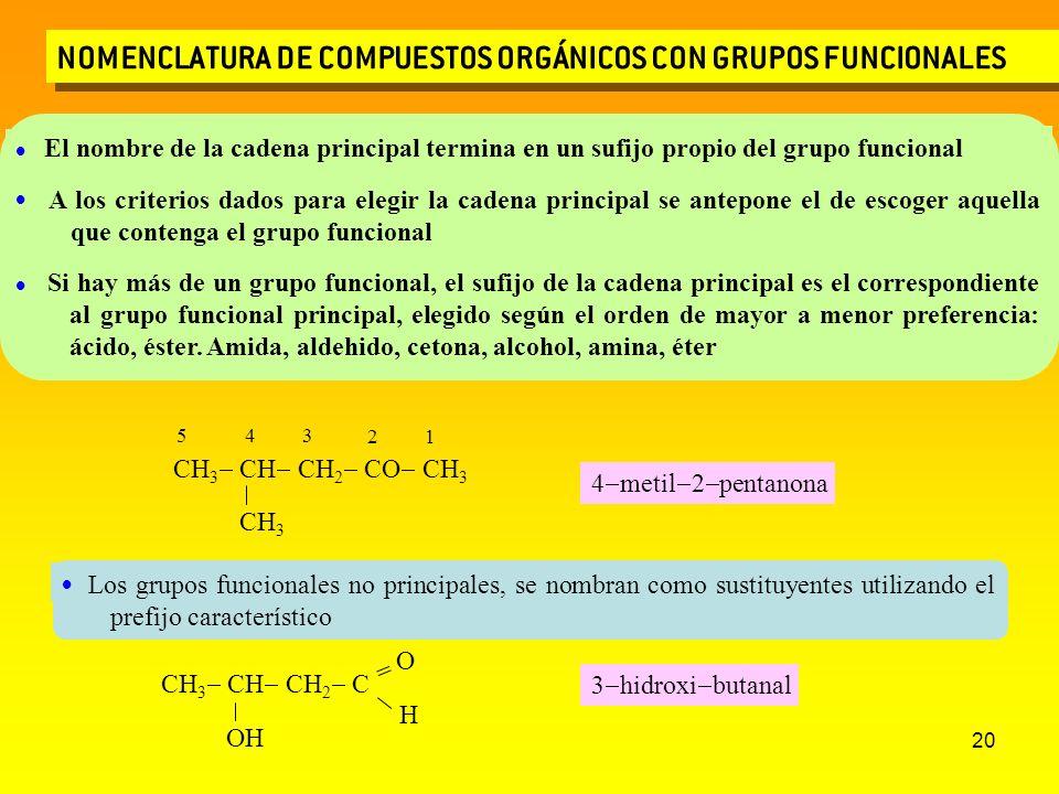 20 NOMENCLATURA DE COMPUESTOS ORGÁNICOS CON GRUPOS FUNCIONALES CH 3 CH CH 2 CO CH 3 CH 3 1 2 345 4 metil 2 pentanona CH 3 CH CH 2 C OH = O H 3 hidroxi
