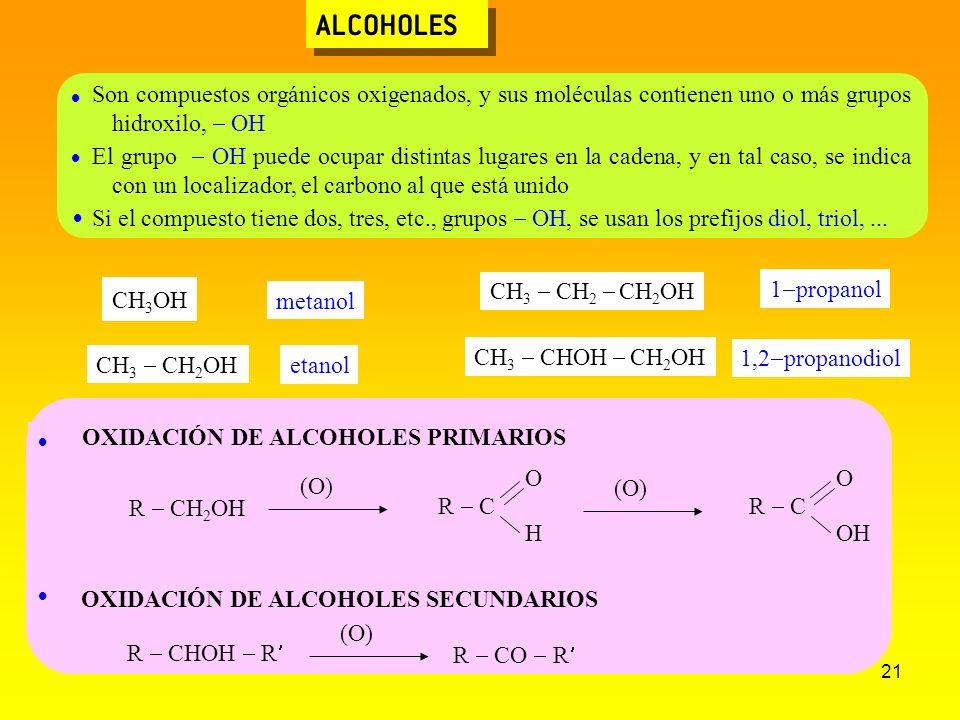 21 ALCOHOLES OXIDACIÓN DE ALCOHOLES PRIMARIOS OXIDACIÓN DE ALCOHOLES SECUNDARIOS Son compuestos orgánicos oxigenados, y sus moléculas contienen uno o
