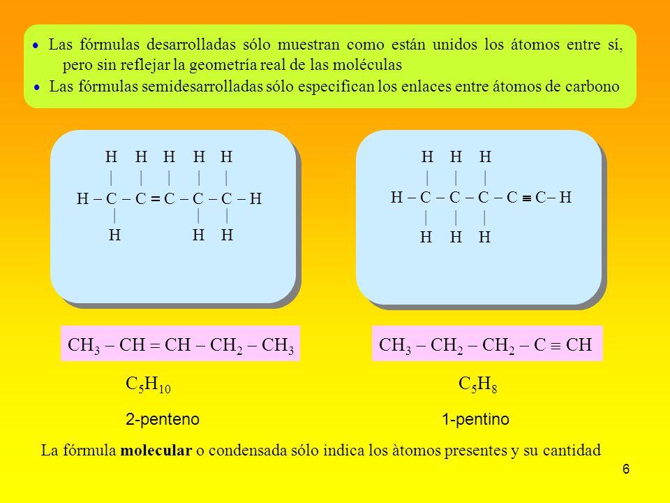 6 H C C C C C H H|H| H|H| H|H| H|H| H|H| |H|H |H|H |H|H Las fórmulas desarrolladas sólo muestran como están unidos los átomos entre sí, pero sin refle