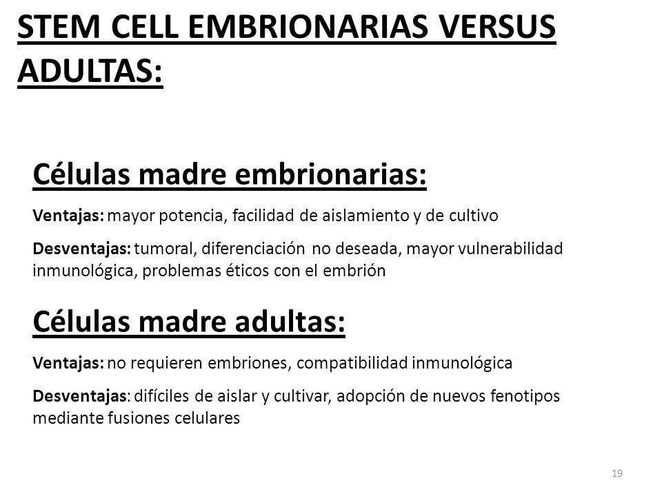 19 Células madre embrionarias: Ventajas: mayor potencia, facilidad de aislamiento y de cultivo Desventajas: tumoral, diferenciación no deseada, mayor