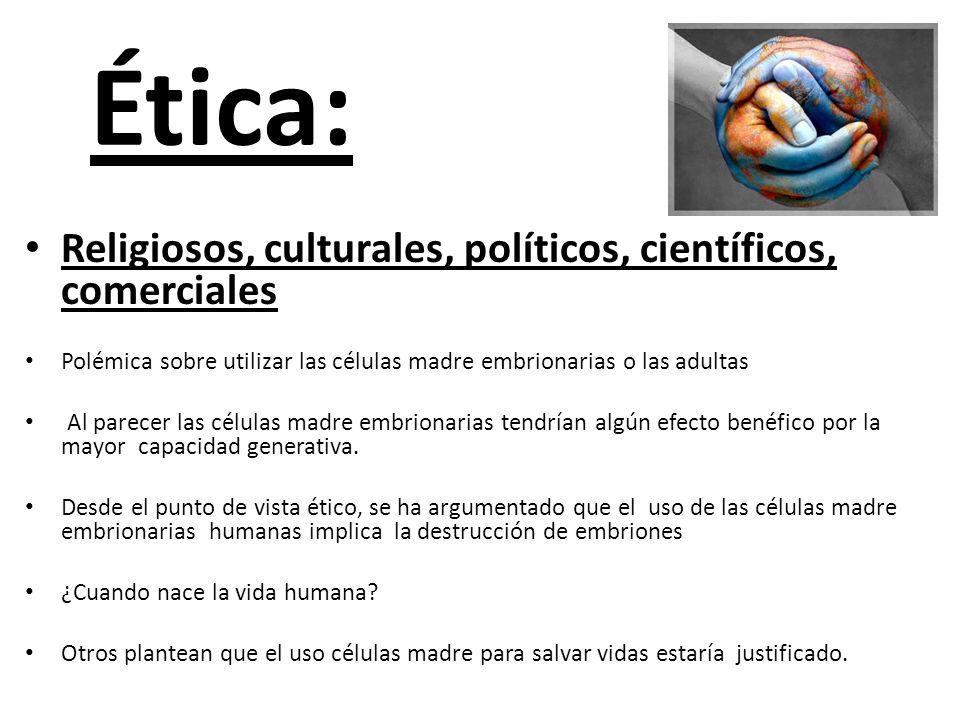Ética: Religiosos, culturales, políticos, científicos, comerciales Polémica sobre utilizar las células madre embrionarias o las adultas Al parecer las
