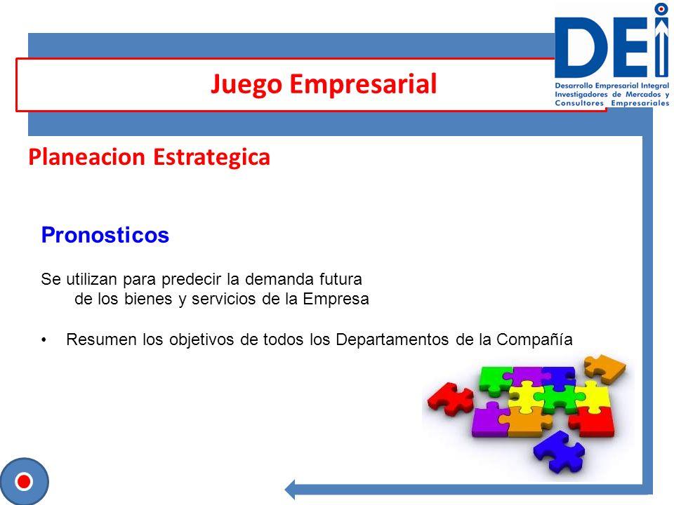 Planeacion Estrategica Pronosticos Se utilizan para predecir la demanda futura de los bienes y servicios de la Empresa Resumen los objetivos de todos