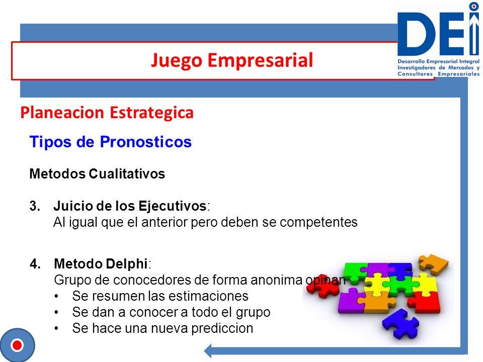 Planeacion Estrategica Tipos de Pronosticos Metodos Cualitativos 3.Juicio de los Ejecutivos: Al igual que el anterior pero deben se competentes Juego