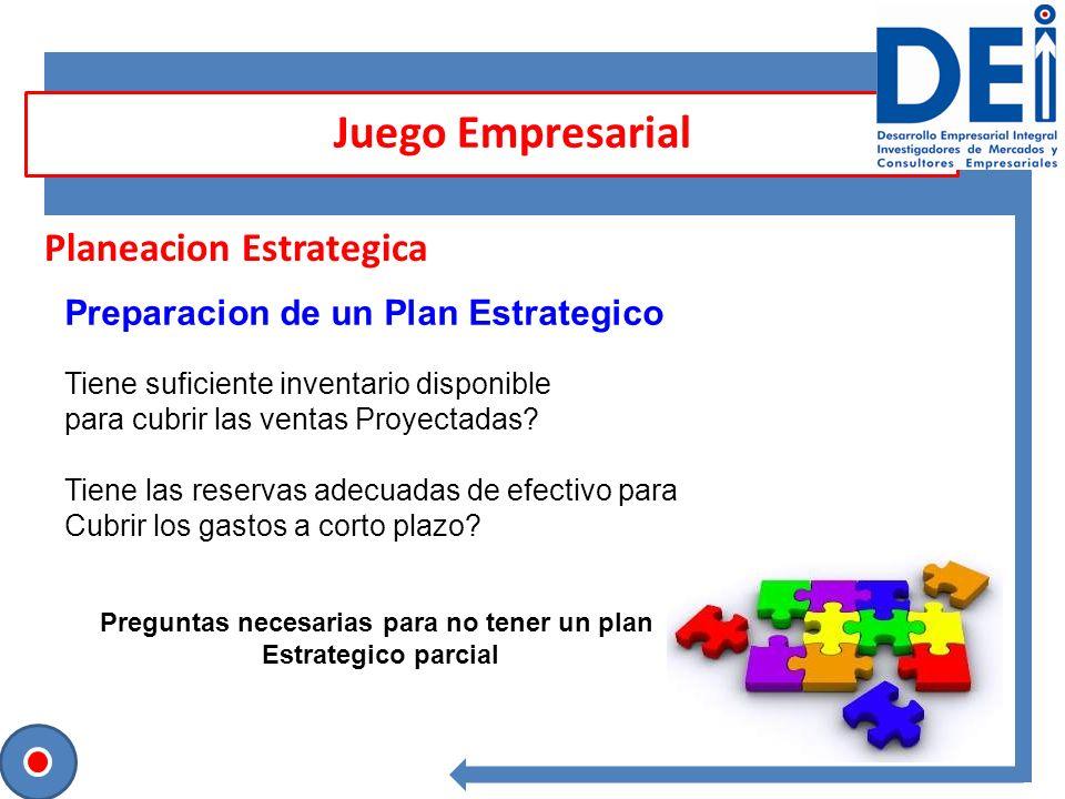 Planeacion Estrategica Preparacion de un Plan Estrategico Tiene suficiente inventario disponible para cubrir las ventas Proyectadas? Tiene las reserva