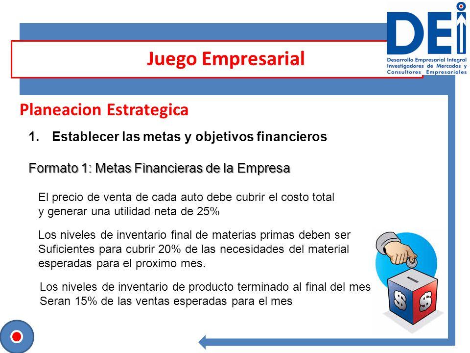 Planeacion Estrategica 1.Establecer las metas y objetivos financieros Formato 1: Metas Financieras de la Empresa Juego Empresarial El precio de venta