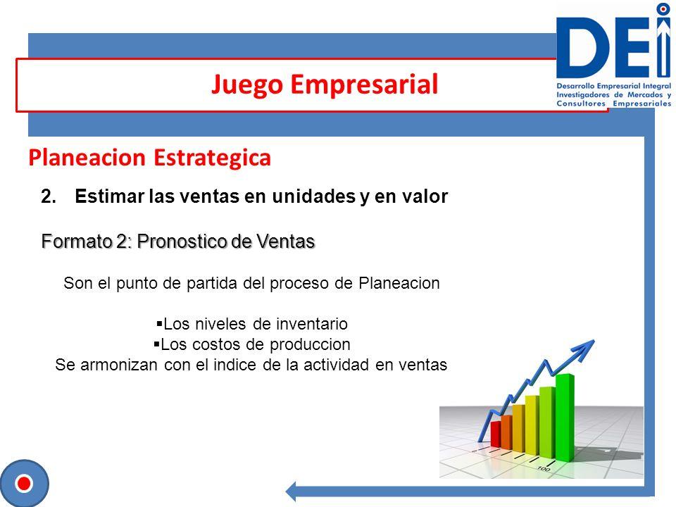 Planeacion Estrategica 2.Estimar las ventas en unidades y en valor Formato 2: Pronostico de Ventas Juego Empresarial Son el punto de partida del proce