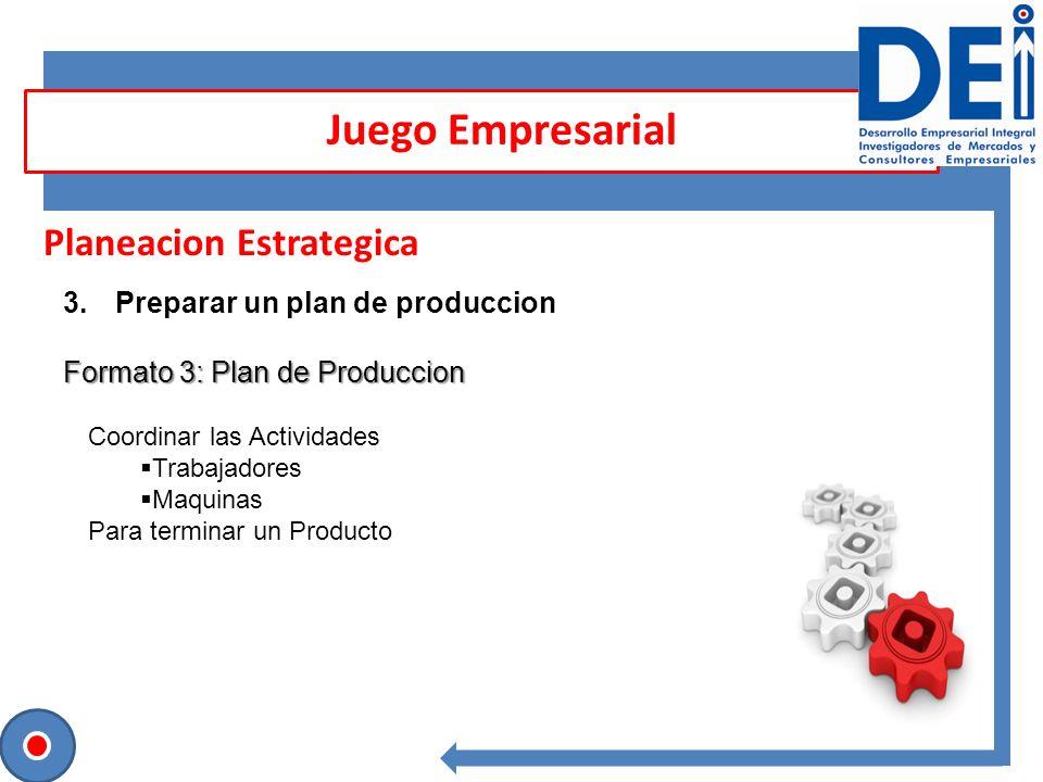 Planeacion Estrategica 3.Preparar un plan de produccion Formato 3: Plan de Produccion Juego Empresarial Coordinar las Actividades Trabajadores Maquina