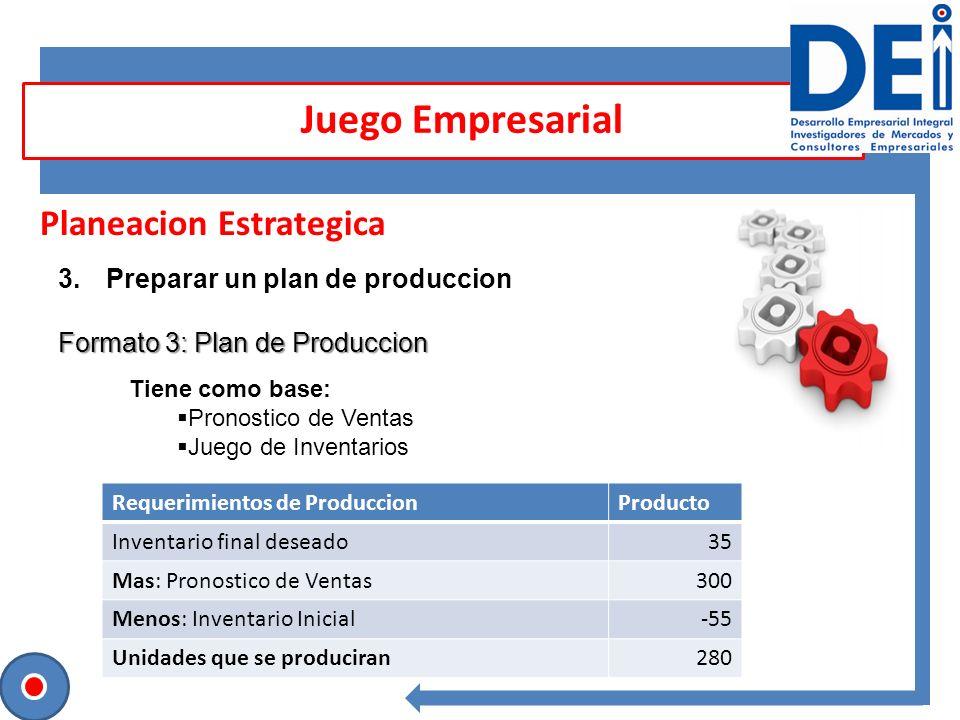 Planeacion Estrategica 3.Preparar un plan de produccion Formato 3: Plan de Produccion Juego Empresarial Requerimientos de ProduccionProducto Inventari