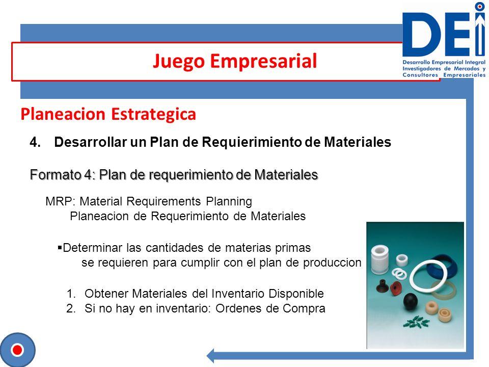 Planeacion Estrategica 4.Desarrollar un Plan de Requierimiento de Materiales Formato 4: Plan de requerimiento de Materiales Juego Empresarial MRP: Mat