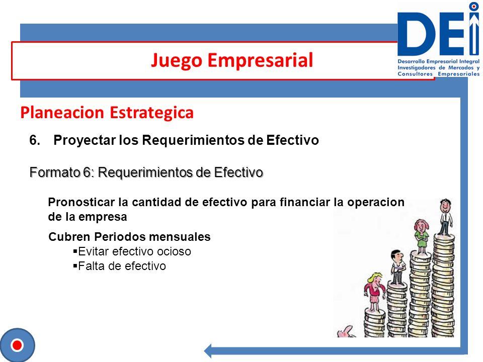 Planeacion Estrategica 6.Proyectar los Requerimientos de Efectivo Formato 6: Requerimientos de Efectivo Juego Empresarial Pronosticar la cantidad de e