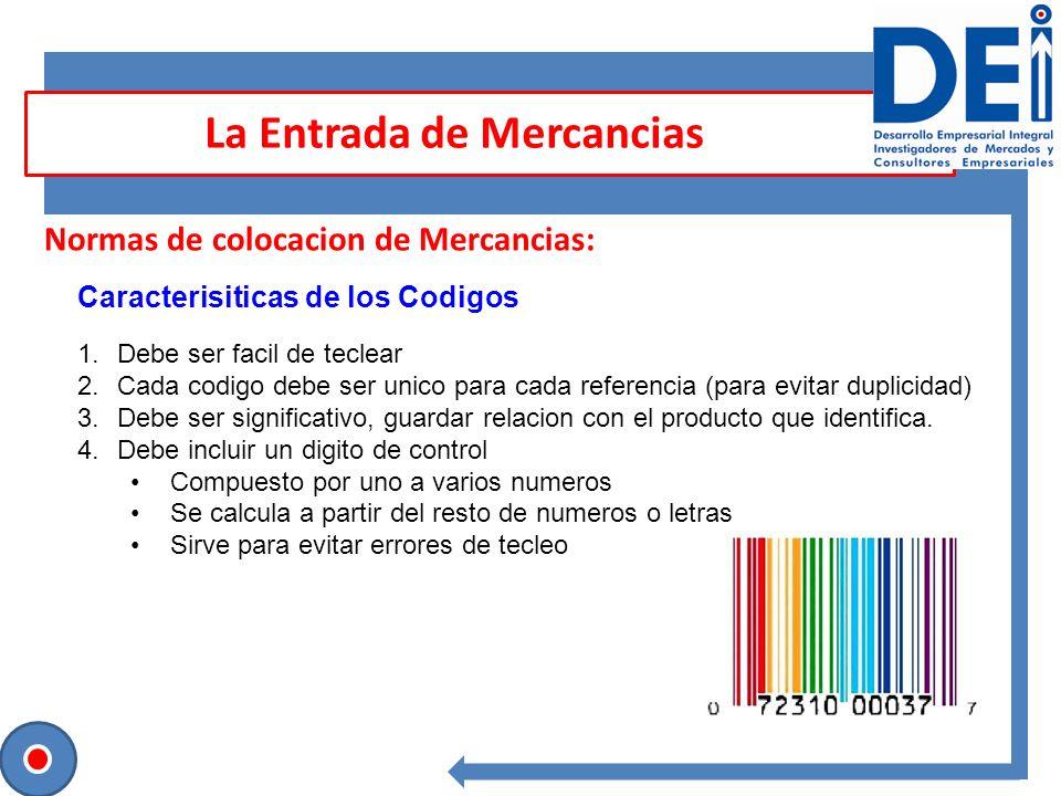 Sesión para contrastar ideas Normas de colocacion de Mercancias: Codigo EAN 13 o Codigo de Barras La Entrada de Mercancias 1.Es leido mediante Escaner 2.Facilita rapidamente la identificacion de mercancias 3.Casi todos los productos estan identificados con estos codigos 4.Facilita la distribucion y ventas de los materiales