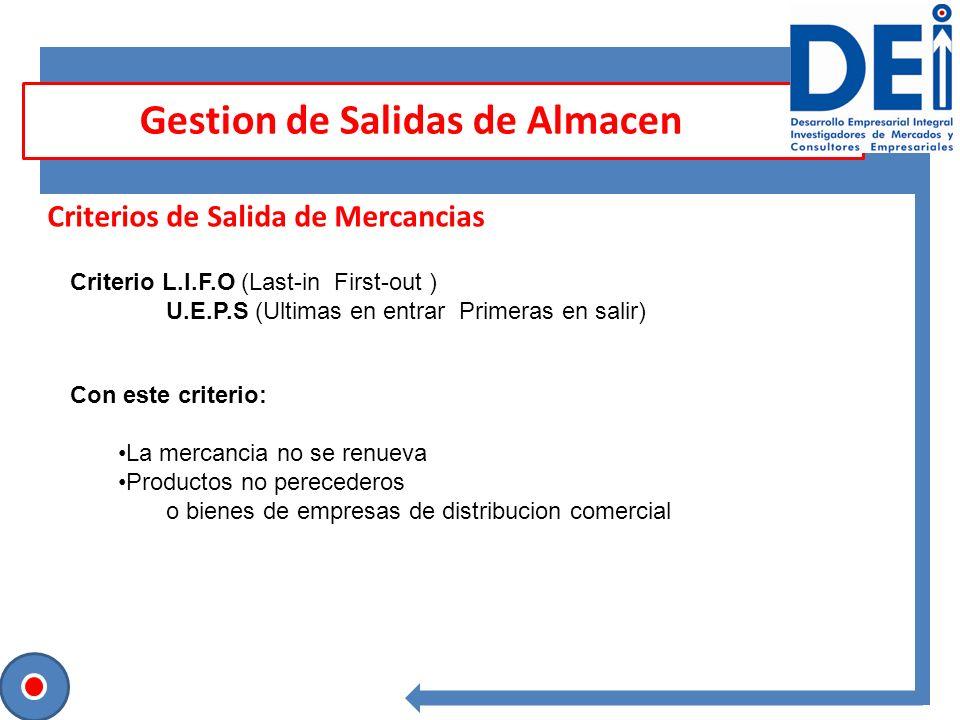 Sesión para contrastar ideas Criterios de Salida de Mercancias Gestion de Salidas de Almacen Entrada de Mercancias U.E.P.S P.E.P.S