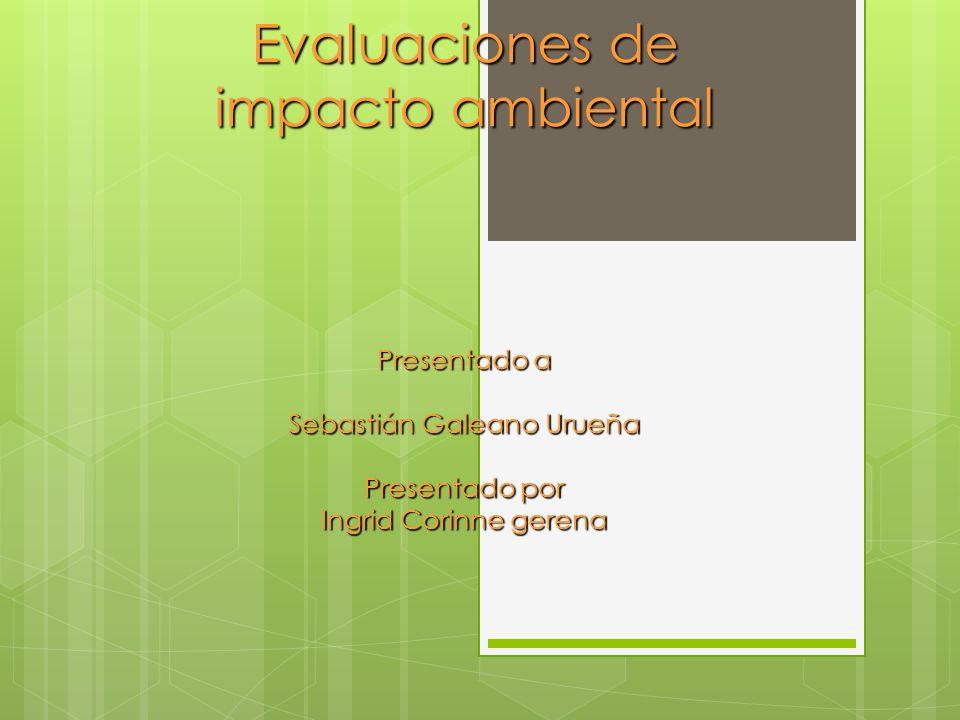 Evaluaciones de impacto ambiental Presentado a Sebastián Galeano Urueña Presentado por Ingrid Corinne gerena