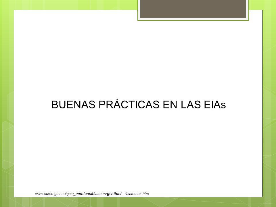 BUENAS PRÁCTICAS EN LAS EIAs www.upme.gov.co/guia_ambiental/carbon/gestion/.../sistemas.htm