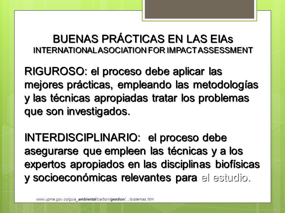 BUENAS PRÁCTICAS EN LAS EIAs INTERNATIONAL ASOCIATION FOR IMPACT ASSESSMENT RIGUROSO: el proceso debe aplicar las mejores prácticas, empleando las met