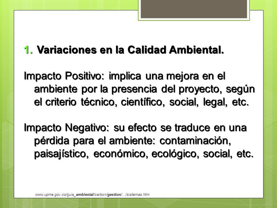 1. Variaciones en la Calidad Ambiental. Impacto Positivo: implica una mejora en el ambiente por la presencia del proyecto, según el criterio técnico,