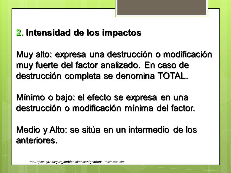 2. Intensidad de los impactos Muy alto: expresa una destrucción o modificación muy fuerte del factor analizado. En caso de destrucción completa se den