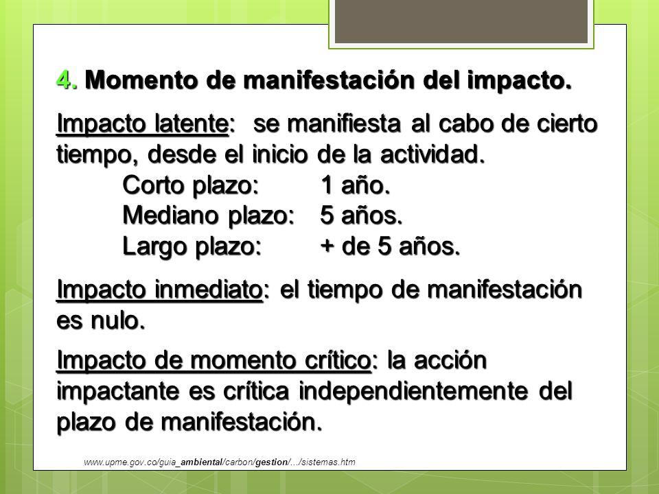 4. Momento de manifestación del impacto. Impacto latente: se manifiesta al cabo de cierto tiempo, desde el inicio de la actividad. Corto plazo: 1 año.