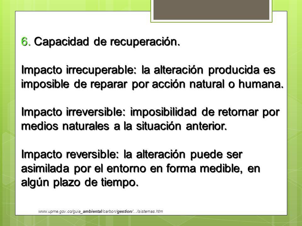 6. Capacidad de recuperación. Impacto irrecuperable: la alteración producida es imposible de reparar por acción natural o humana. Impacto irreversible