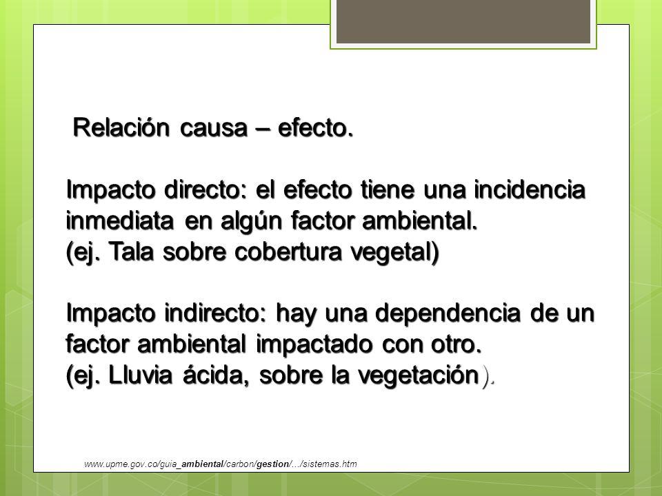 Relación causa – efecto. Relación causa – efecto. Impacto directo: el efecto tiene una incidencia inmediata en algún factor ambiental. (ej. Tala sobre