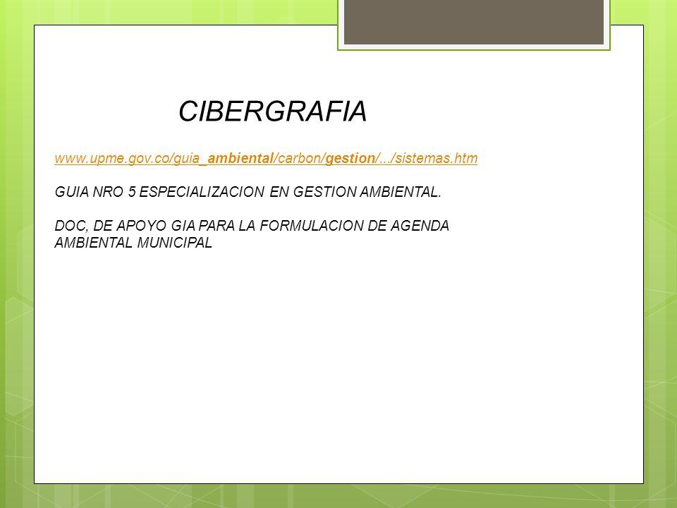 CIBERGRAFIA www.upme.gov.co/guia_ambiental/carbon/gestion/.../sistemas.htm GUIA NRO 5 ESPECIALIZACION EN GESTION AMBIENTAL. DOC, DE APOYO GIA PARA LA